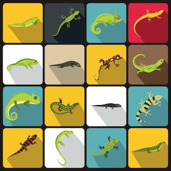 Conjunto de iconos de lagarto, estilo plano