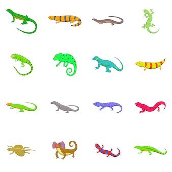 Conjunto de iconos de lagarto