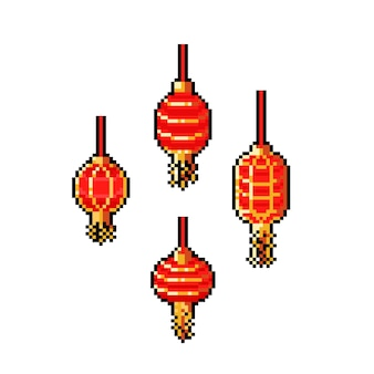 Conjunto de iconos de lámpara china de dibujos animados de pixel art