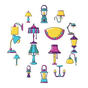 Conjunto de iconos de lámpara, estilo de dibujos animados