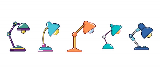 Conjunto de iconos de lámpara de mesa. conjunto de dibujos animados de iconos de vector de lámpara de mesa conjunto aislado