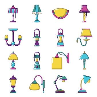 Conjunto de iconos de la lámpara