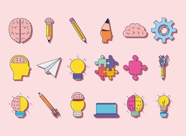 Conjunto de iconos de lápices y creatividad