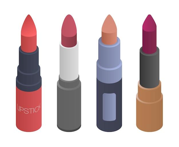 Conjunto de iconos de lápiz labial, estilo isométrico