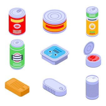 Conjunto de iconos de lata, estilo isométrico
