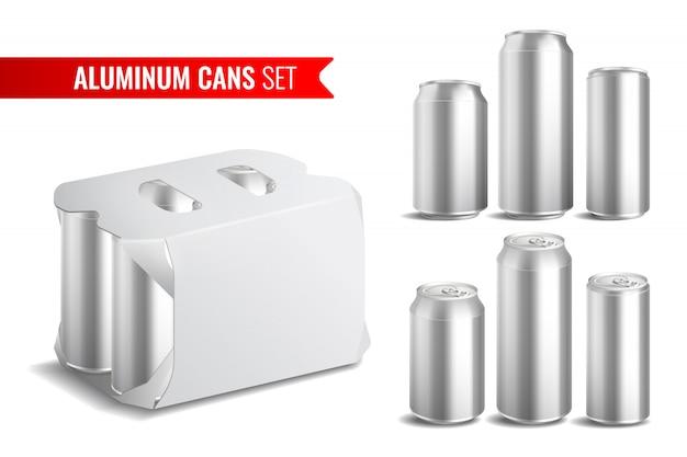 Conjunto de iconos de latas de aluminio