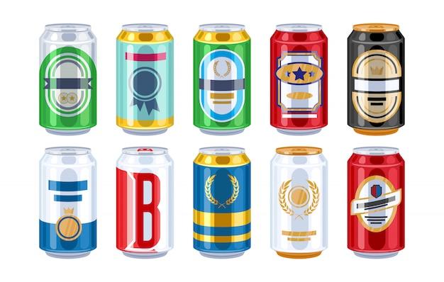 Conjunto de iconos de latas de cerveza.