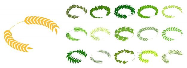 Conjunto de iconos de laurel, estilo isométrico