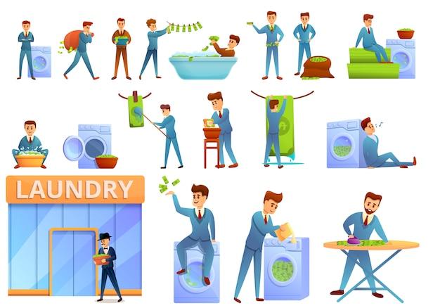 Conjunto de iconos de lavado de dinero, estilo de dibujos animados