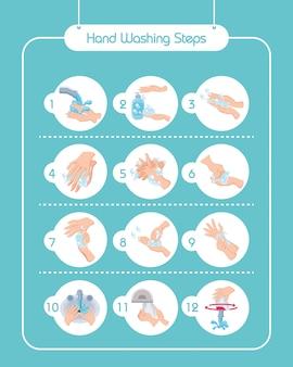 Conjunto de iconos de lavados de manos