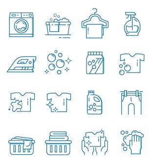 Conjunto de iconos de lavandería con estilo de contorno