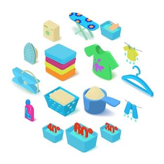 Conjunto de iconos de lavandería, estilo isométrico
