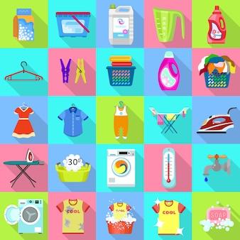 Conjunto de iconos de lavandería.