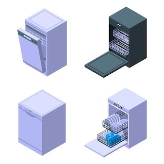Conjunto de iconos de lavavajillas, estilo isométrico