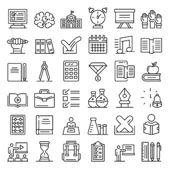 Conjunto de iconos de lección, estilo de contorno