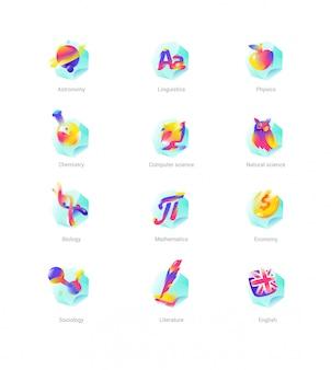 Conjunto de iconos de lecciones de la escuela, asignaturas.