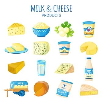 Conjunto de iconos de leche y queso