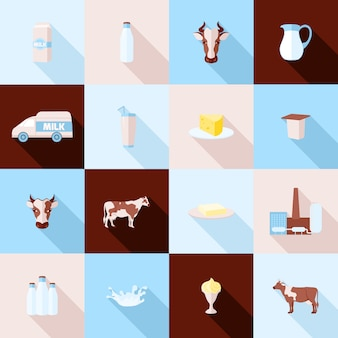 Conjunto de iconos de leche