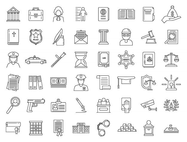 Conjunto de iconos legales de justicia