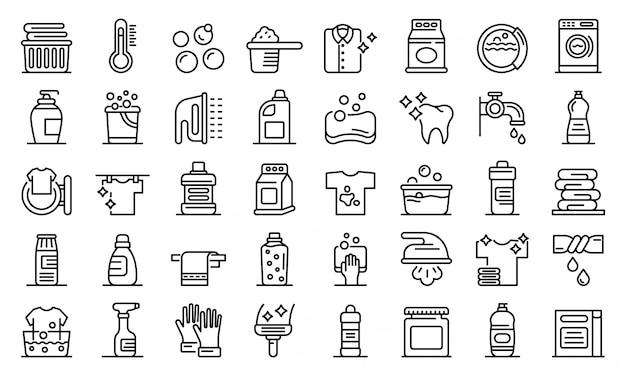 Conjunto de iconos de lejía, estilo de contorno
