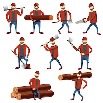 Conjunto de iconos de leñador, estilo de dibujos animados
