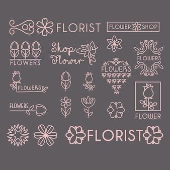 Conjunto de iconos y letras de la tienda de flores