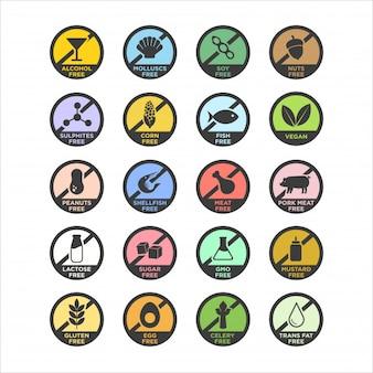 Conjunto de iconos libres de alérgenos