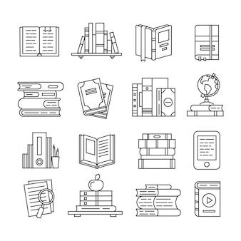 Conjunto de iconos de libro de arte de línea
