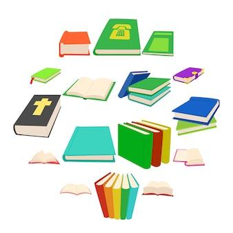 Conjunto de iconos de libro, estilo de dibujos animados