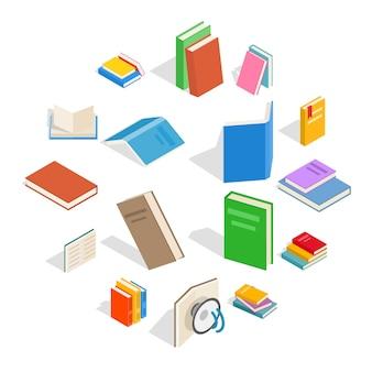 Conjunto de iconos de libro, estilo isométrico 3d