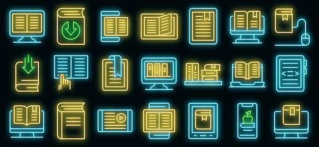 Conjunto de iconos de libros electrónicos. esquema conjunto de iconos de vector de ebook color neón en negro