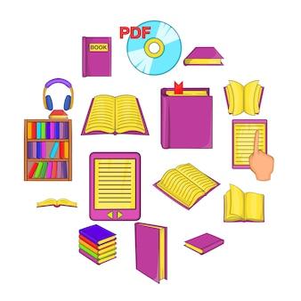Conjunto de iconos de libros, estilo de dibujos animados