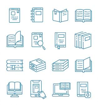 Conjunto de iconos de libros y libros electrónicos con estilo de contorno