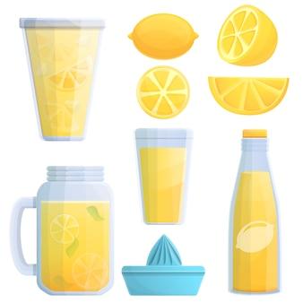 Conjunto de iconos de limonada, estilo de dibujos animados