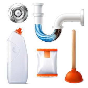 Conjunto de iconos de limpiador de desagües