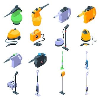 Conjunto de iconos de limpiador de vapor, estilo isométrico