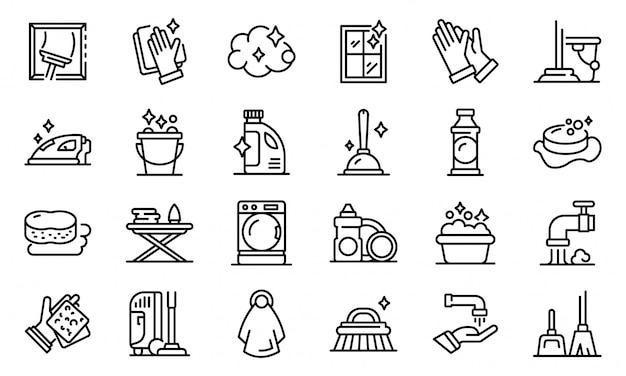 Conjunto de iconos de limpieza, estilo de contorno
