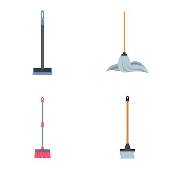 Conjunto de iconos de limpieza de fregona