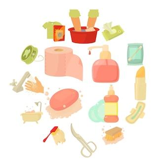Conjunto de iconos de limpieza de higiene, estilo de dibujos animados