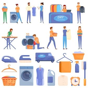 Conjunto de iconos de limpieza en seco, estilo de dibujos animados