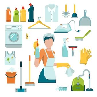 Conjunto de iconos de limpieza