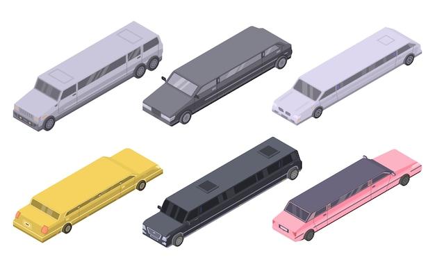 Conjunto de iconos de limusina, estilo isométrico