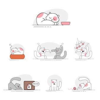 Conjunto de iconos lindo gato plano. mascotas de diferentes poses. pequeño personaje de gatitos graciosos aislado en un fondo blanco.