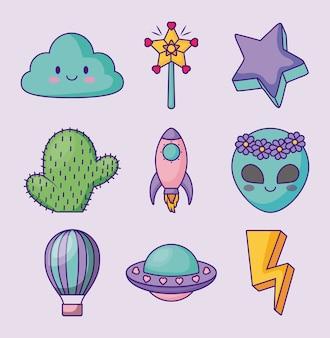 Conjunto de iconos lindos relacionados