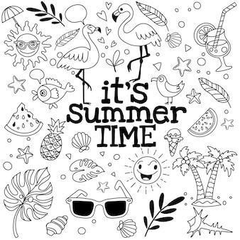 Conjunto de iconos lindos de verano: alimentos, bebidas, hojas de palma, frutas y flamencos. cartel de verano brillante.