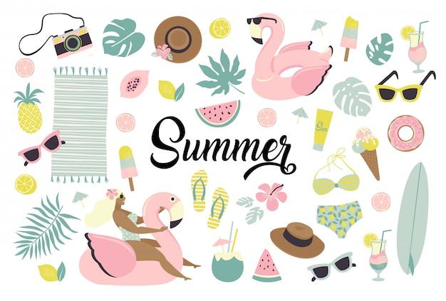 Conjunto de iconos lindos del verano.