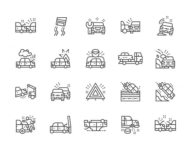 Conjunto de iconos de línea de accidentes automovilísticos. estación de automóviles, evacuación, embotellamiento y más.