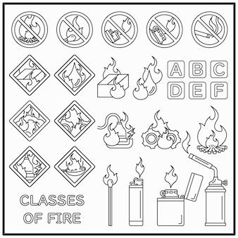 Conjunto de iconos de línea de advertencia de fuego y fuego