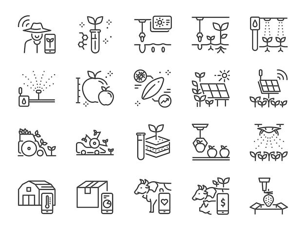 Conjunto de iconos de línea de agricultura inteligente.