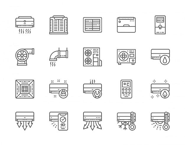 Conjunto de iconos de línea de aire acondicionado.
